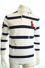Polo Ralph Lauren White & Navy Blue Stripe Rugby Shirt Size L Retail