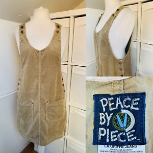 Vintage Peace By Piece Beige Cord Pinafore Dress Size M Pockets Button