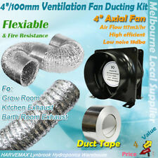 "HYDROPONICS SILENT 4""/100mm INLINE EXHAUST FAN DUCTING VENTILATION KIT COMBO"