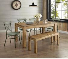 Farmhouse Dining Table Set Rustic Wood Country Kitchen Metal Green Chair 5 Piece
