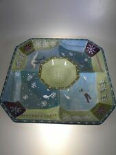 Zrike SKI LODGE by Lori Siebert Olika Handpainted Chip & Dip Bowl