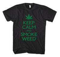 KEEP CALM AND SMOKE WEED Black Unisex Adult T-Shirt Tee Top
