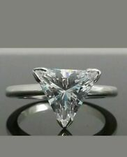cut Diamond Solitaire Engagement Women Ring 925 Sterling Silver 2Ct Vvs Triangle