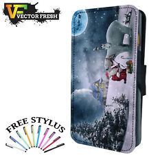 SANTA CLAUS AND WHITE POLAR BEAR CHRISTMAS Leather Flip Wallet Phone Case Cover
