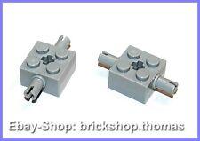 LEGO 2 X PIETRA 2x2 a 2 pin lateralmente asse 30000 Light Bluish Gray-NUOVO/NEW