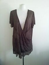 Jane Lamerton size 24 silk blend crossover top, short sleeves & plunging v-neck
