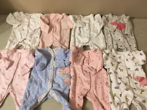 Baby Girls PREEMIE Clothes Outfits Sleepers  Fit Reborn Doll Also Lot #3