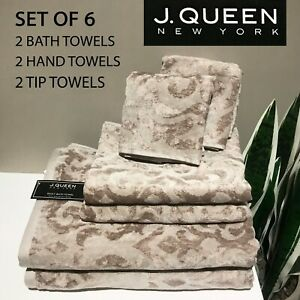 SET OF 6 New J. QUEEN Tip + Hand + Bath Towels Pearl Dusty Mauve Damask Swirl