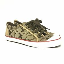 Coach Womens Sneakers Shoes 8 Lace Up Rubber Sole Canvas C Logo Flat Leather