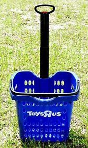 Toys R Us BLUE PLASTIC ROLLING SHOPPING BASKET VERY RARE Geoffrey Giraffe