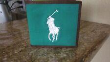 NEW Ralph Lauren Polo Big Pony Leather Canvas Bifold GREEN Wallet WITH BOX