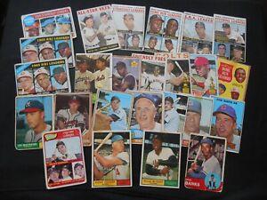 1961 1962 1963 1960 Topps Baseball Card Lot 25 Mantle Koufax Banks Aaron Mays RC