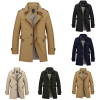Men Lapel Collar Trench Coat Windbreaker Jacket Parka Outerwear Warm Overcoat