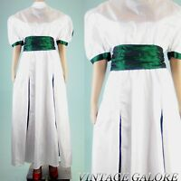 True Vintage 80s white shiny green belted cocktail evening party gown dress Sz L