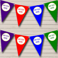 Purple Blue Red Green Personalized Baby Shower Bunting Banner