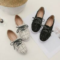 Womens Flat Heel Comfort Sneaker Lace Up Round Toe Casual Fashion Loafers Shoes