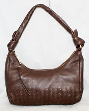 ELLIOTT LUCCA Dark Brown Small Woven Leather Hobo Shoulder Bag Gold Hdwr Knots