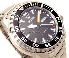 CITIZEN MEN AUTOMATIC SPORT BEZEL STAINLESS STEEL DAY DATE 100m NH8388-81E