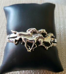"Sterling Silver Kabana Style Wild Running Horses Cuff Bracelet  6""  19.5 grams"