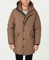 $695 Michael Kors Men's Brown Modern Fit Hood All Weather Raincoat Jacket SIZE M