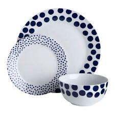 Premier Housewares 12pc Dinner Set, Porcelain, Blue Spots