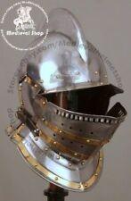 Burgonet helmet medieval ancient armour helmet with brass bidding