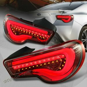 For Scion FRS FT86 Subaru BRZ DRL Chrome Housing/Red Lens LED Tail Lights Lamp
