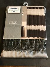 Room & Retreat Shower Curtain Marco Color Black/Gray 72 in. X 72 in.