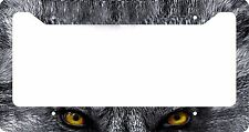 LICENSE PLATE FRAME GRAY WOLF YELLOW EYES CUSTOM CAR TAG