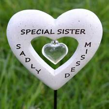 Sadly Missed Special Sister Love Heart Memorial Graveside Tribute Stick Plaque