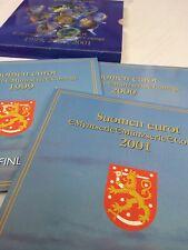 LES 3 COFFRETS 1999, 2000, 2001 FINLANDE EUROCOINS NEUF