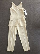 Vintage Beige Linen 2 Piece Set Top & High Waist Pants Size 12 With Tags