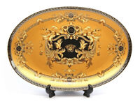 "Royalty Porcelain Yellow 9.5"" Fruit Serving Platter, Medusa Greek Key 24K Gold"