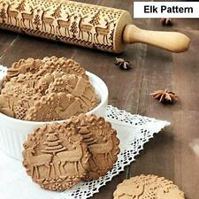 Christmas Wooden Rolling Pin for Baking Cookies, Elk Pattern 3D Christmas