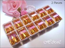 2 x Swarovski Vintage Summer Blush 4521 Sew On 14x10mm Crystal Baguettes s/p