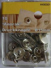 10 sin costuras - Botones de presión Anorak 15mm plata