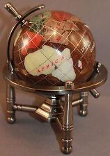 Genuine Multi-Gemstone Desktop Globe Pewter Tone Base Copper Brown Globe Free SH