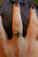 9 CARAT GOLD 2 DIAMOND & SAPPHIRE TRILOGY RING SIZE O 2.2 GRAMS HALLMARKED