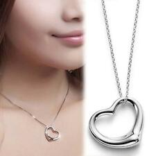 Fashion Women Silver Open Heart Pendant Chain Necklace Sterling Silver Gift S+