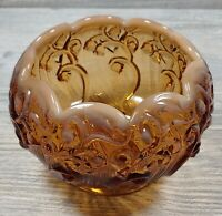 Vintage Fenton Brown White Opalescent - Lily of The Valley - Rose Bowl Art Glass