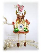 Christmas glass clock SALE! reindeer head swiss style boxed tree decoration