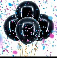 "Giant Gender Reveal 2xBlack 36"" Balloon with Baby Girl Pink or Boy Blue Confetti"