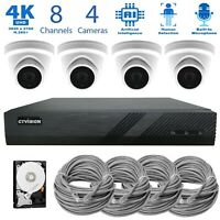 8 Channel 4K NVR 4 x 8MP Audio PoE IP AI Security CCTV Wired Camera System 2TB
