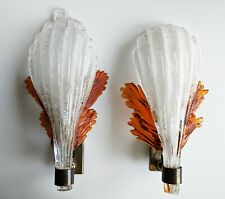 50er Mid Century Wandlampe Set Glas Lamp Barovier & Toso Murano Sconce