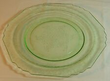 "Green Depression Glass Plate,  Vintage 10"" Dish, Near Mint Condition"