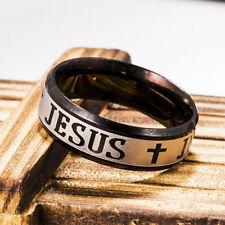 Titanium Stainless Steel Men 8mm Women Jesus Christian Cross Prayer Band Ring #9