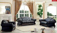 Black Genuine Top Grain Italian Leather Luxurious Living Room Sofa Set