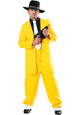 Mens Yellow Gangster Zoot Suit The Mask Jim Carrey Fancy Dress Size XL Upto 48""