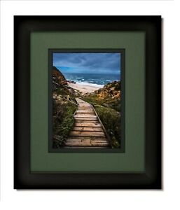 11x14 Matte Black Frame with Glass & Green/Black Mat for 8x10