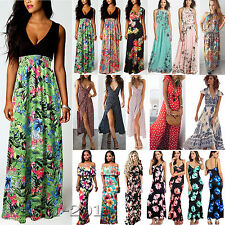 Damen Boho Sommer Lang Maxikleid Cocktail Party Strand Vintage Freizeitkleider